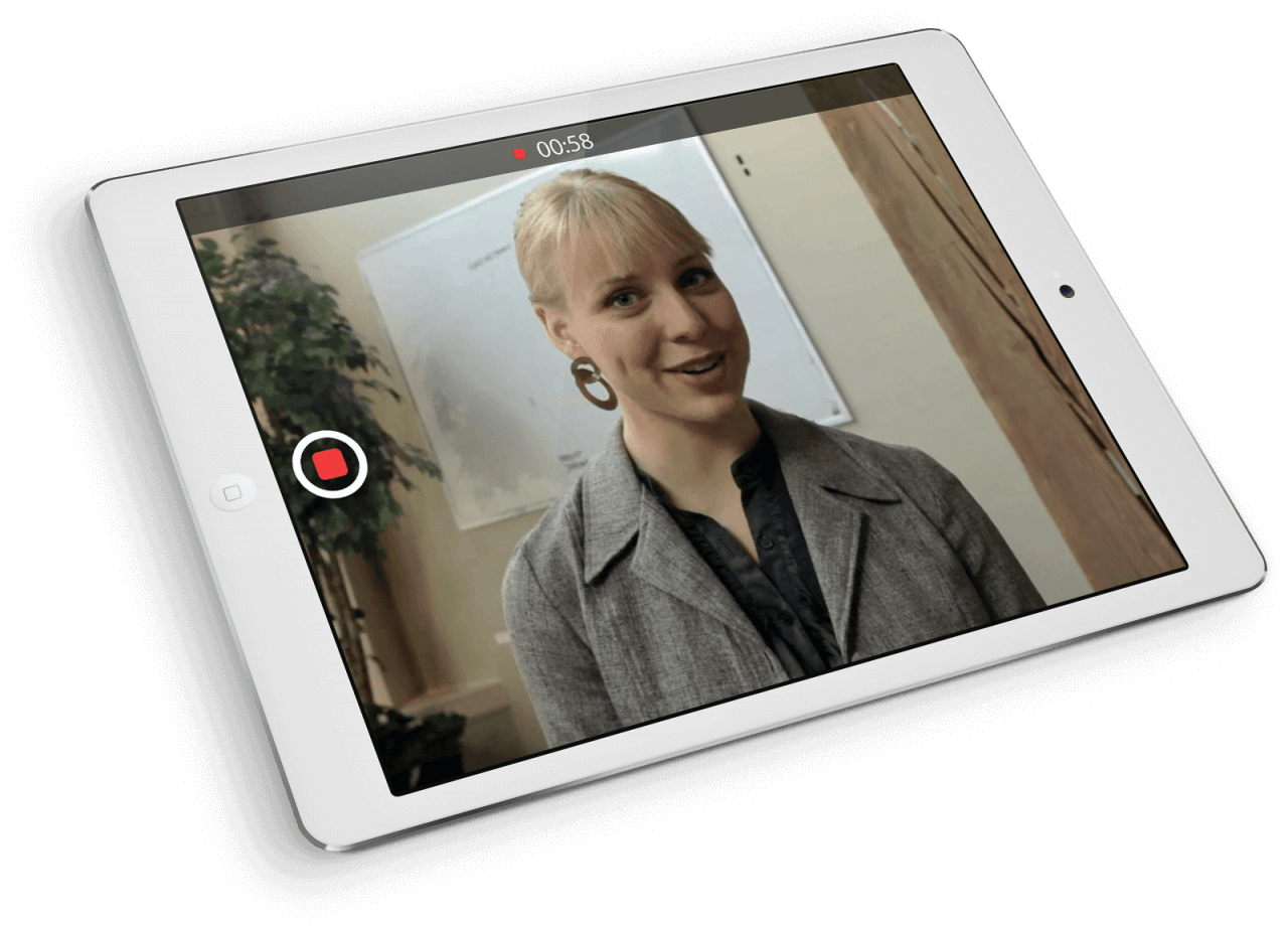 Panopto mobile course capture software on an iPad