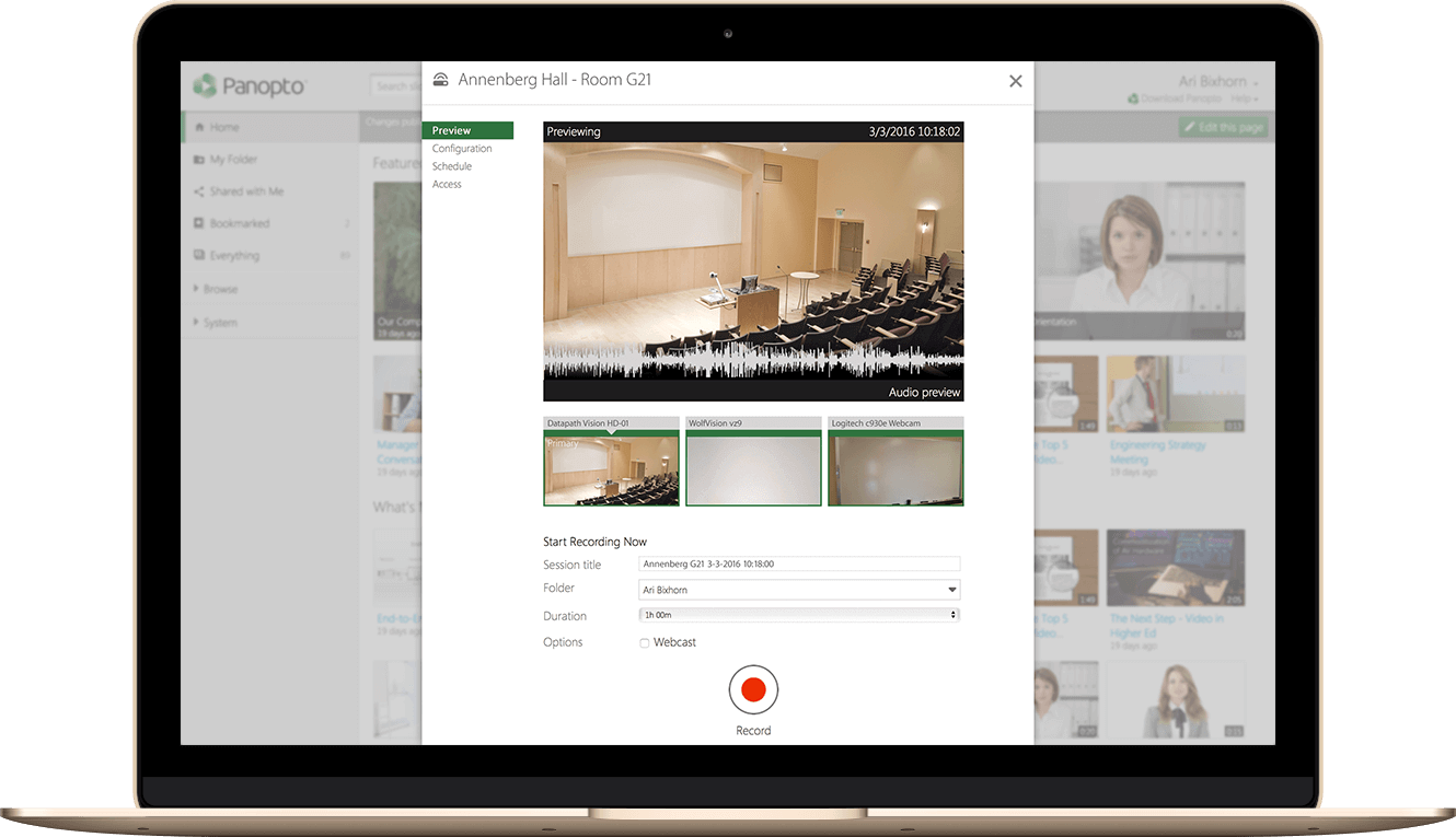 Easily schedule recordings and live webcasts with Panopto's remote recorders
