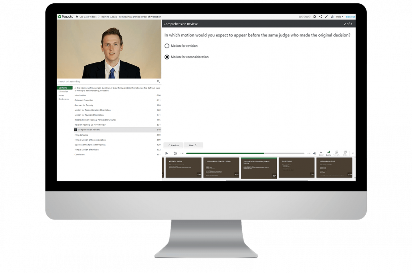 Make course videos interactive and add quizzes to engage and activate learners in Panopto's video education platform