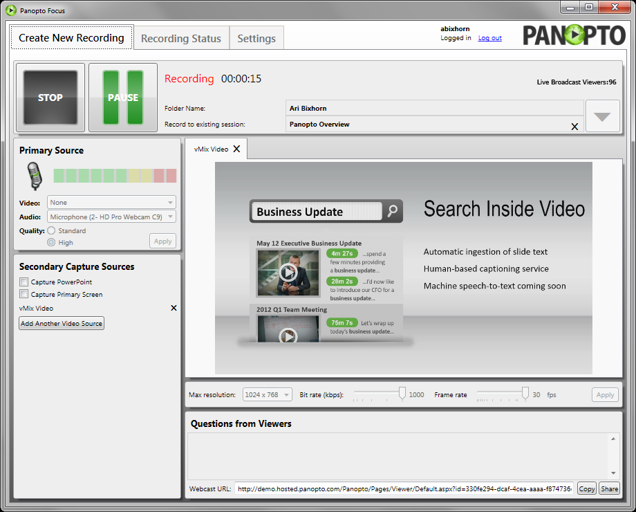 Panopto Online Video Platform - Viewer Count