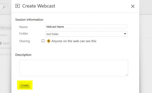 create webcast link in Panopto