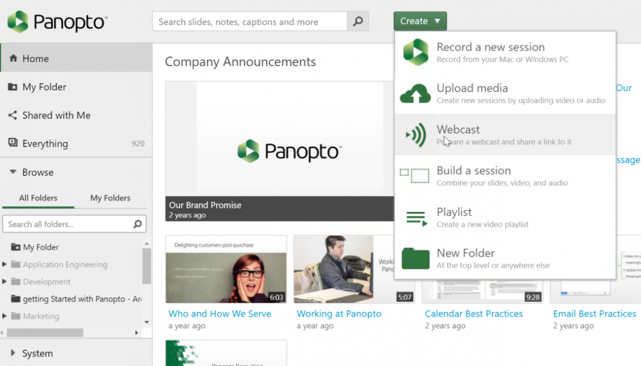 Create a webcast in Panopto