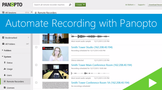Automated Recording with Panopto Video Platform