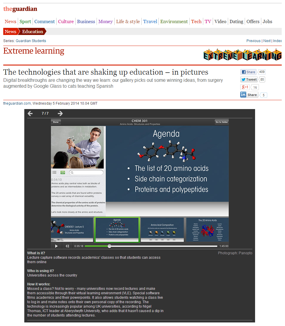 GuardianUK - Extreme Learning -Panopto Video Platform - Lecture Capture