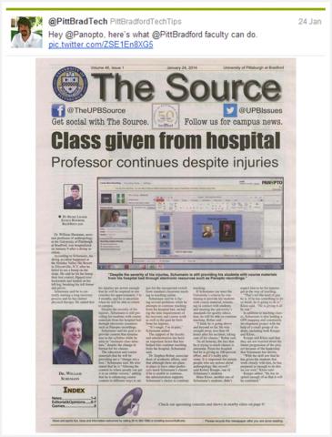 UPITT Bradford-병원 첫 페이지에서 제공된 클래스-Panopto 비디오 플랫폼