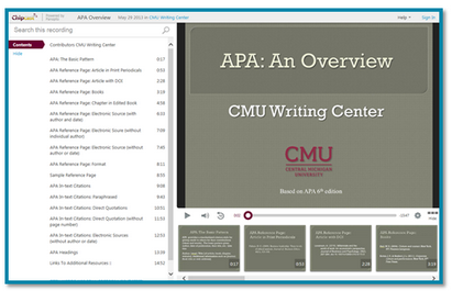 Central Michigan APA presentation image - Panopto Video Platform