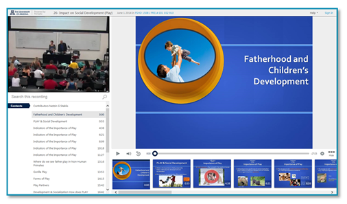 Fatherhood and Child Development presentation thumbnail - Panopto Lecture Capture platform