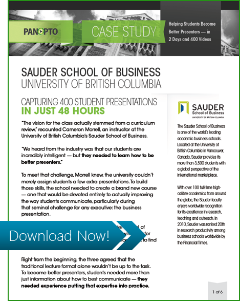 ICON - Sauder Biz School at UBC - Panopto Student Presentations Video Platform Case Study