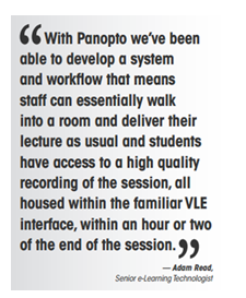 Panopto quote - Adam Read - Panopto Lecture Capture Platform