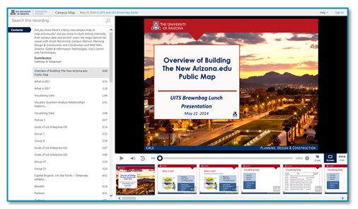 University of Arizona presentation icon - Panopto Lecture Capture Platform