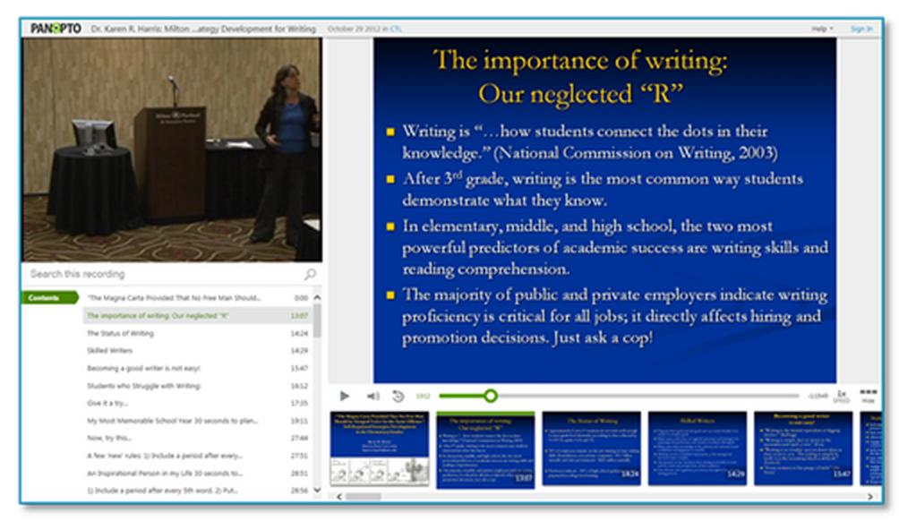 Arizona State University Präsentation - Panopto Vorlesungsaufzeichnungsplattform