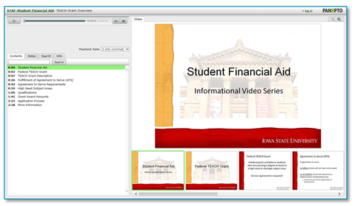 Financial Aid Presentation - Panopto Video Platform