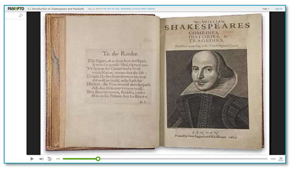 Introduction à Shakespeare - Plate-forme vidéo Panopto