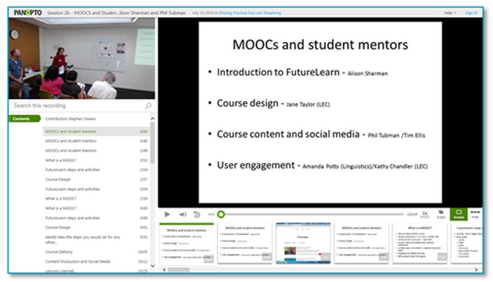 MOOCs Presentation - Panopto Lecture Capture Platform