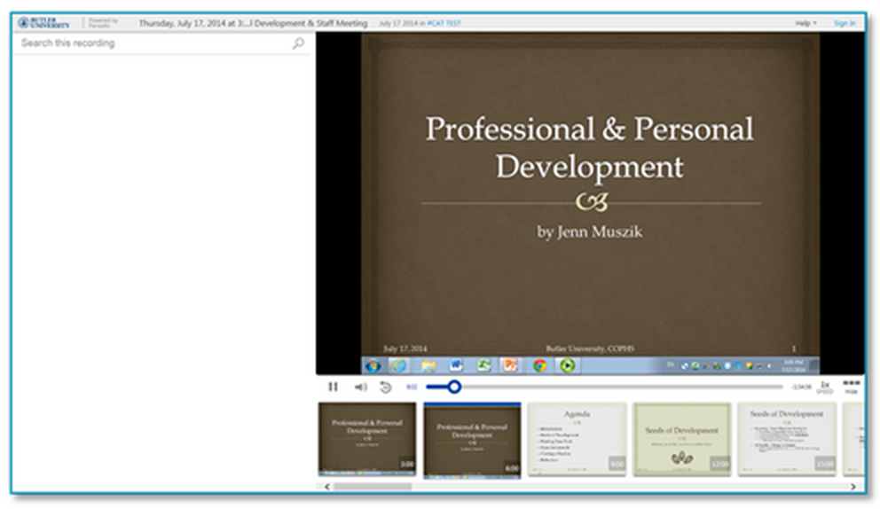 Professional and Personal Development - Panopto VCMS
