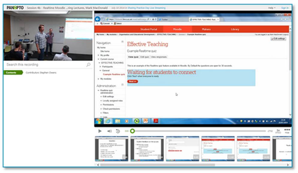 Realtime Moodle Quizzes Presentation - Panopto Lecture Capture Platform