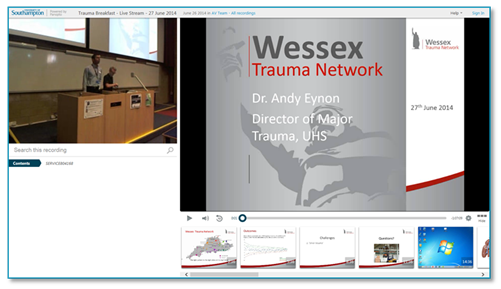 Wessex Trauma Network Presentation - Panopto Video Platform
