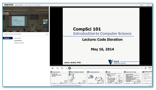 CompSci 101 Presentation - Panopto Lecture Capture Platform