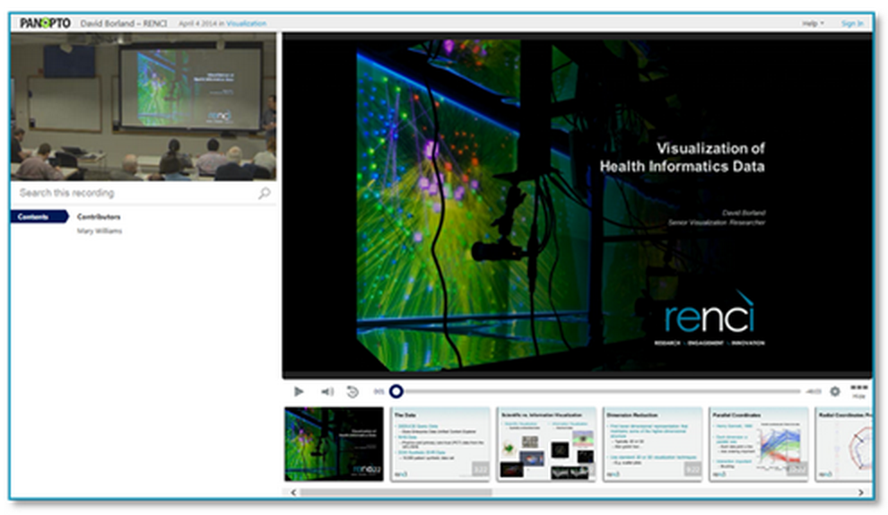 Health Informatics Presentation - Panopto Video Platform