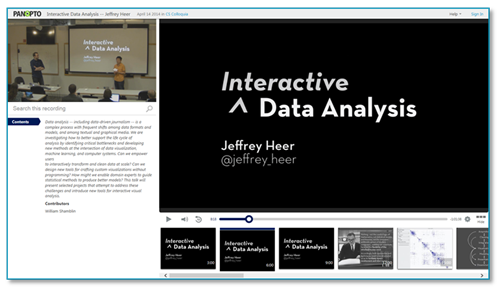 Interactive Data Analysis - Panopto Video Platform