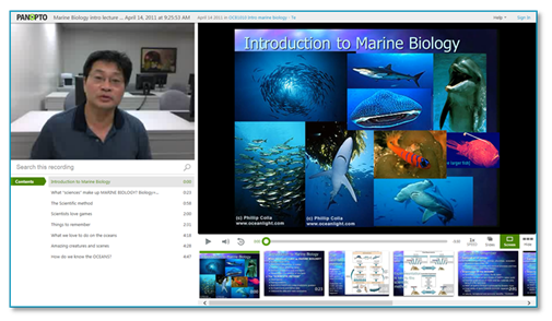 Introduction to Marine Biology - Panopto Lecture Capture Platform