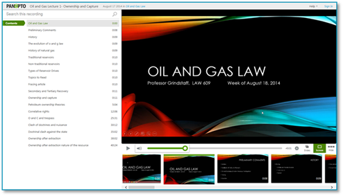 OilAndGasLaw - Panopto Week In Ideas