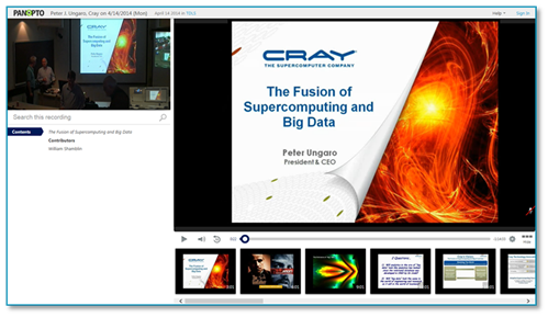 Supercomputing and Big Data - Panopto Online Presentation Platform