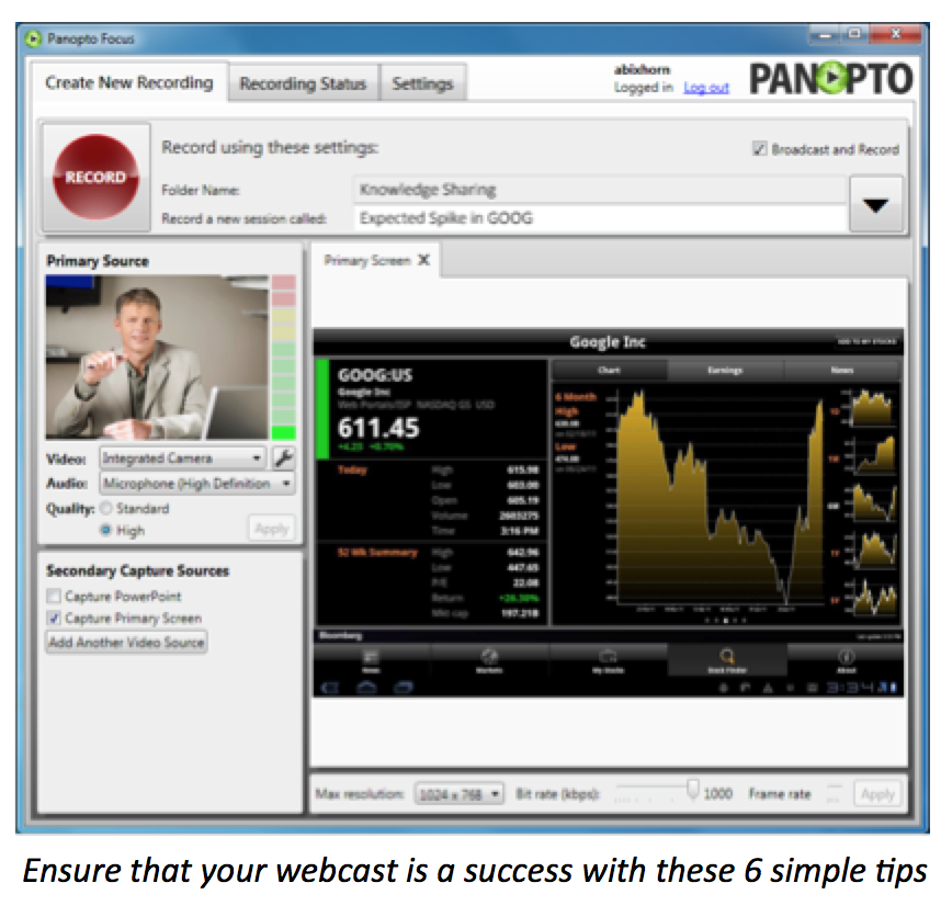Tips for a Successful Webcast - Panopto Live Webcasting Platform