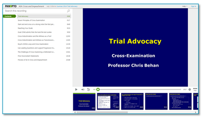 Trial Advocacy Presentation - Panopto Video Platform