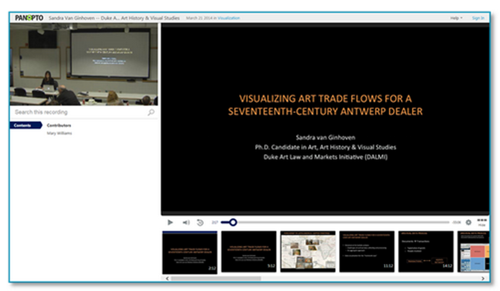 Visualizing Art Trade Flows Presentation - Panopto Lecture Capture