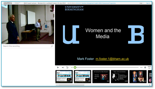 Women and the Media Presentation - Panopto Lecture Capture Platform