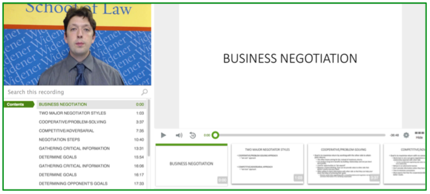 Business Negotiation Lecture - Panopto Video Platform