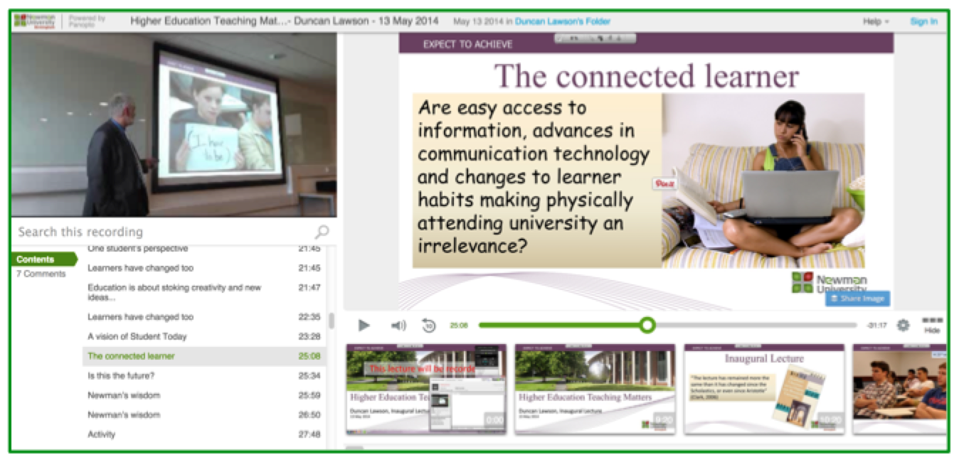 Higher Education Lecture - Panopto Lecture Capture Platform