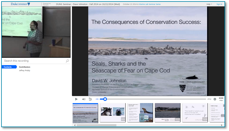 Conservation Success - Panopto Video Presentation Recording Software