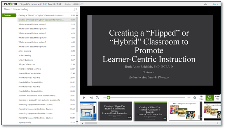 Flipped Classroom Presentation - Panopto Recorded Video Presentation Software