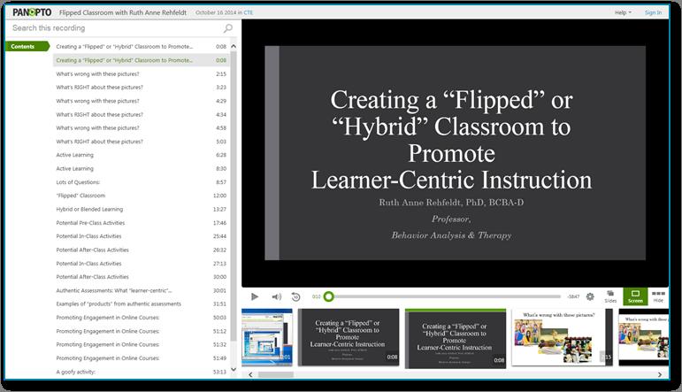 Flipped-Classroom-Präsentation - Panopto Software für aufgezeichnete Videopräsentationen