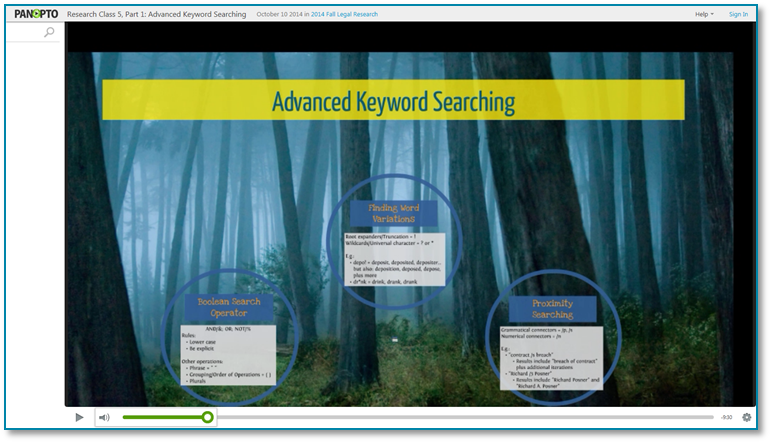 KeywordSearching - Panopto Recorded Video Presentation Software