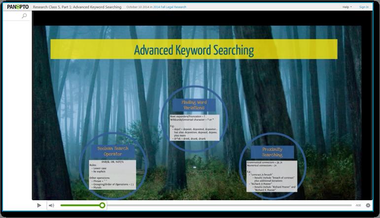 KeywordSearching - Panopto Software für aufgezeichnete Videopräsentationen