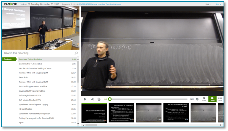 MachineLearning-Panopto 비디오 프레젠테이션 소프트웨어