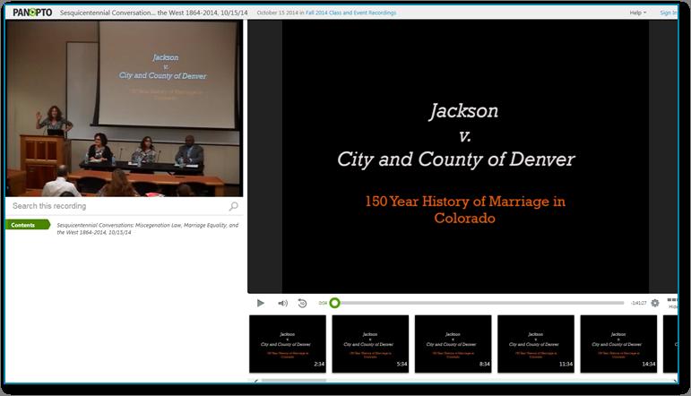 MarriageHistoryInCO - Panopto Software für aufgezeichnete Videopräsentationen