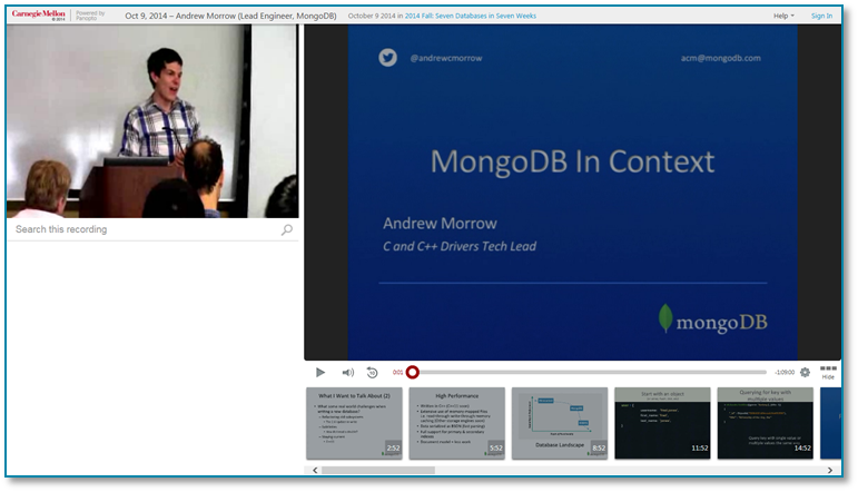 MongoDB-Panopto Video Presentation Software