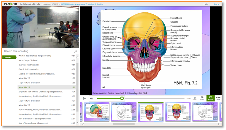 Skull Overview - Panopto Video Presentation Software