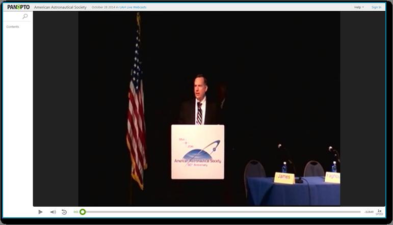 Amerikanische Astronautische Gesellschaft - Panopto Video-Präsentations-Software