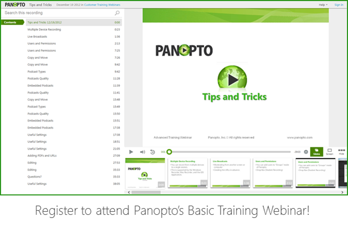 Basic Training Webinar - Panopto Video Platform