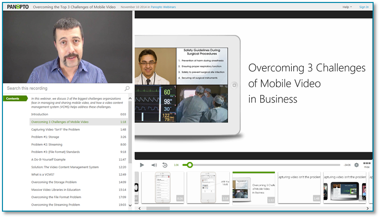 Challenges of Mobile Business Video - Panopto Video Presentation Software