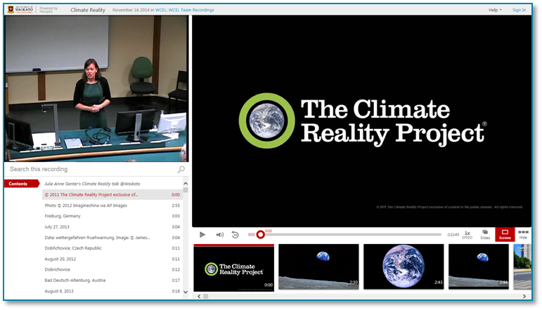 Climate Reality Project - Panopto Video Presentation Software