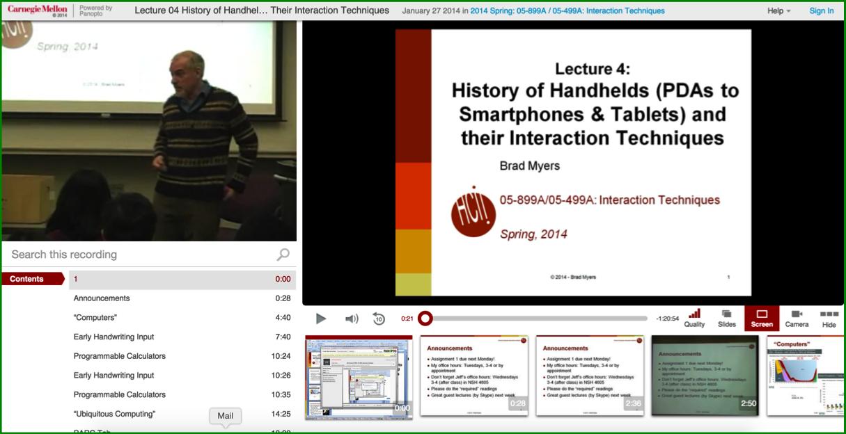 History of Handhelds - Panopto Lecture Capture Platform