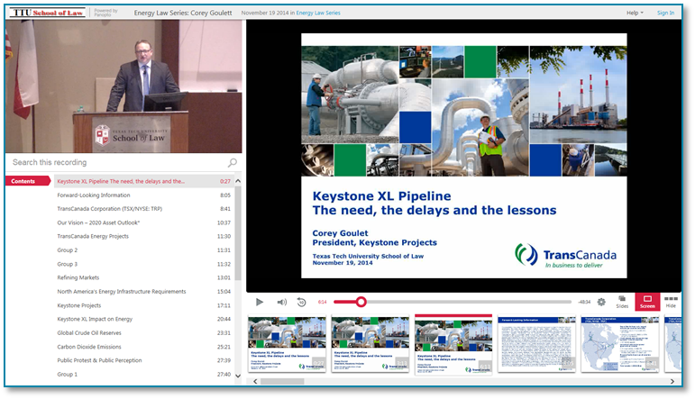 Keystone XL Pipeline Needs Delays Lessons - Panopto Video Presentation Software