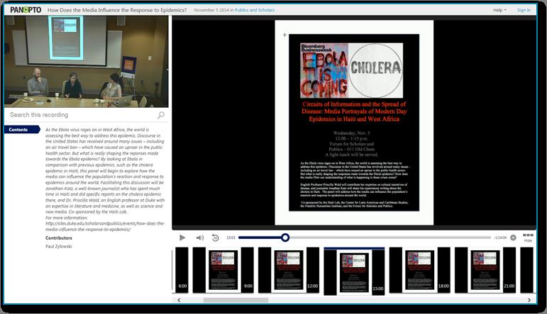 Medieneinfluss bei Epidemien - Panopto Video-Präsentationssoftware