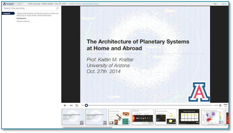 Planetary Systems - Panopto Video Presentation Software